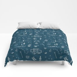 Simple Camping blue Comforters