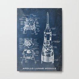 apollo lunar module chalkboard blueprint Metal Print