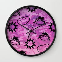 allyson johnson Wall Clocks featuring OG Barbie Johnson  by Golly Good