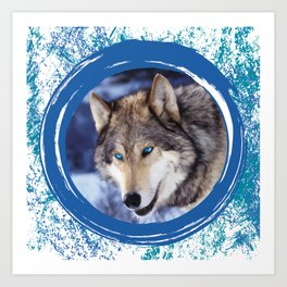 Blue-Eyed Wolf Art Print