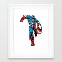 avenger Framed Art Prints featuring Avenger: Cap' by Popp Art