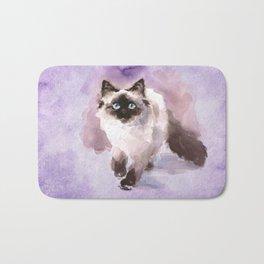 Watercolor Siamese Cat Bath Mat