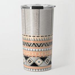 Peach Coral Andes Abstract Aztec Tribal Gray Wood Travel Mug