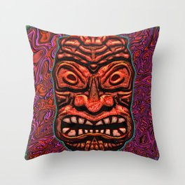 Tiki Tile Red Stone Throw Pillow