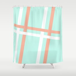 Turquoise & Coral (4) Shower Curtain