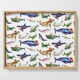 Whales on Holiday by dotsofpaint - White Serving Tray