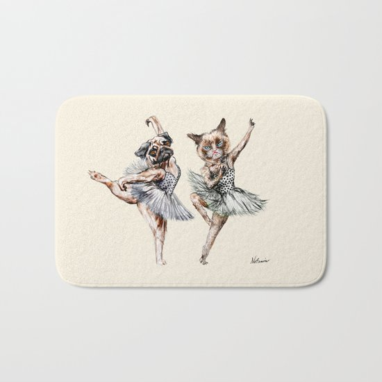 Hipster Ballerinas - Dog Cat Dancers Bath Mat