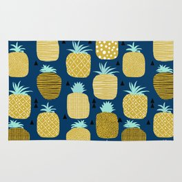 Pineapple tropical navy stripes pattern summer fruits print pillow phone case Rug
