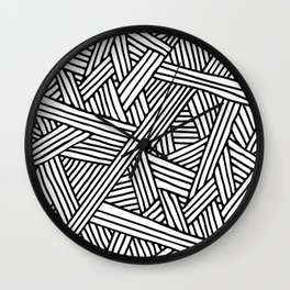 Abstract white & black Lines and Triangles Pattern-Mix and Match with Simplicity of Life Wall Clock