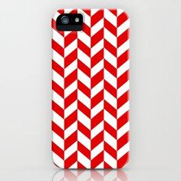 Herringbone Texture (Red & White) iPhone Case