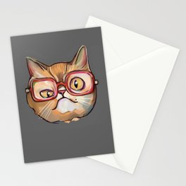 Nerd and geek cat in glasses Stationery Cards