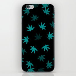 Black & Teal Kush Leaf iPhone Skin