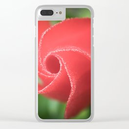 Twirly red flower petals Clear iPhone Case