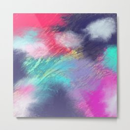Artistic bold colors abstract watercolor ombre marble Metal Print