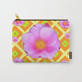 Yellow Pattern Lime on Pink Rose Abstract Carry-All Pouch
