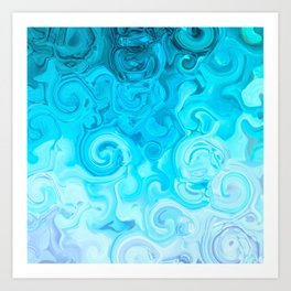 white turquoise blue whirl abstract digital painting Art Print