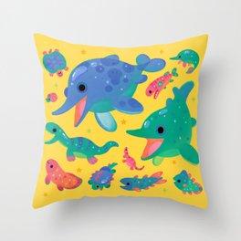 Triassic baby - yellow Throw Pillow
