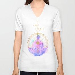 I am Light   Modern Energy Art   Spiritual Illustration   Meditation & Mindfulness Watercolor Unisex V-Neck