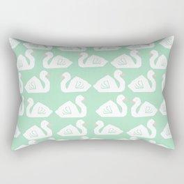 Swan minimal pattern print mint and white bird illustration swans nursery decor Rectangular Pillow