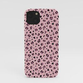 Pink abstract leopard print with heart shapes. Digital pattern. Vector illustration background iPhone Case