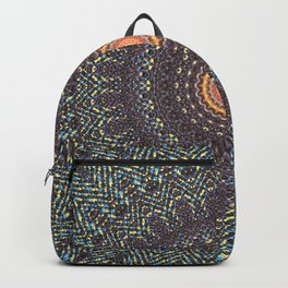 Sun Circle Bohemian Geometric Thread Weave Pattern Original \\ Yellow Gray Blue Purple Color Scheme Backpack