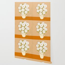 bouquet of white camomiles in the vase Wallpaper