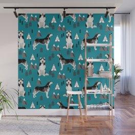 Husky siberian huskies mountains pet portrait dog dogs pet friendly dog breeds gifts Wall Mural