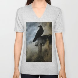 Stormy Clouds And Crow Unisex V-Neck