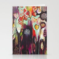 "flora bowley Stationery Cards featuring ""Release Become"" Original Painting by Flora Bowley by Flora Bowley"
