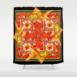 GOLD FISH & RED POPPIES GEOMETRIC BLACK ARTWORK Shower Curtain