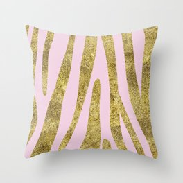 Golden exotics - Zebra and soft rose Throw Pillow
