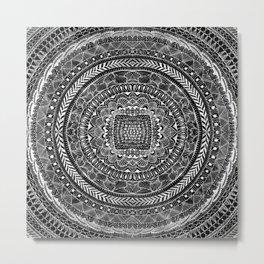 Zentangle Mandala Black and White Metal Print
