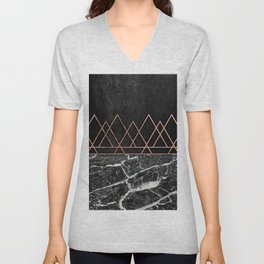 Elegant Rose Gold Triangles Black White Marble Unisex V-Neck