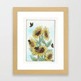Monarch Sunflower Framed Art Print