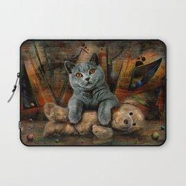Cat Diesel with teddybear ! Laptop Sleeve