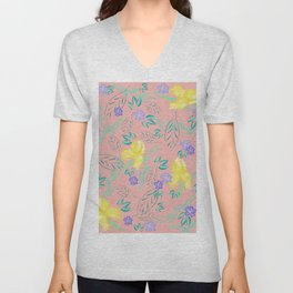 Watercolour yellow iris and periwinkle pattern on blush Unisex V-Neck