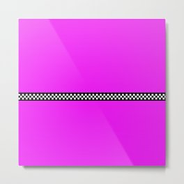 Hot Pink Taxi with Black and White Checkerboard Band Metal Print