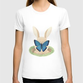 Butterfly resting on a bunny's nose T-shirt