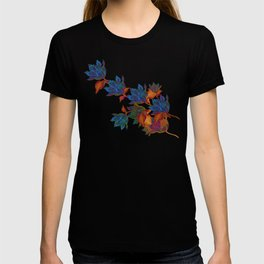 """Blue flowers on orange silk"" (Air Spring at night) T-shirt"
