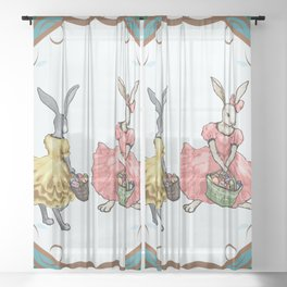 Dressed Easter bunnies 2a Sheer Curtain