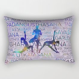 Yoga Asanas/Poses Sanskrit Word Art Rectangular Pillow