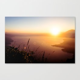 The view from my tent over Lake Atlitán Canvas Print