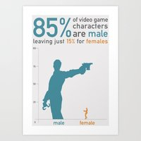 85% OF VIDEO GAME CHARACTERS ARE MALE: Sexism in Video Games  Art Print