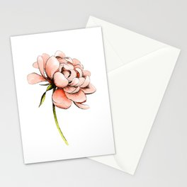Coral Pink Peony Stationery Cards
