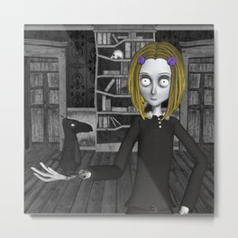 Lenore And The Raven Nevermore Metal Print