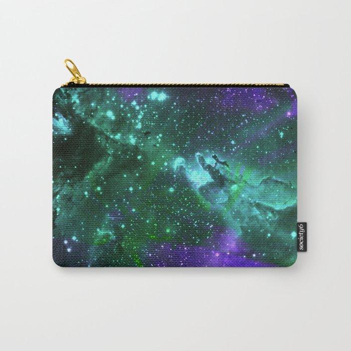 Aqua N Amethyst Space Flower Carry-All Pouch