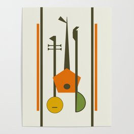 Mid-Century Modern Art Musical Strings Poster