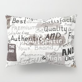 Grunge hipster pattern with different words and signatures Pillow Sham