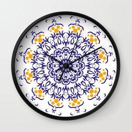 Blue and yellow mandala of harmony Wall Clock