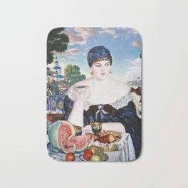 Boris Kustodiev - Merchants Wife At Tea Bath Mat